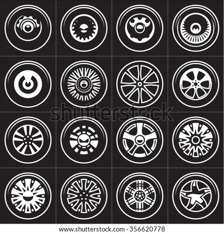 Wheels. Rims vector set. - stock vector