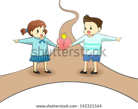 When a lover is on different path, will it destroy their relationship? (with road) - stock vector