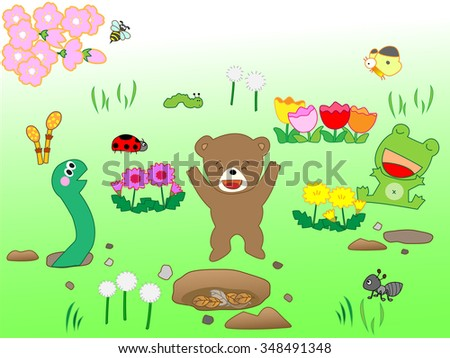 When spring came, a snake, a frog, a bear came out of hibernation.