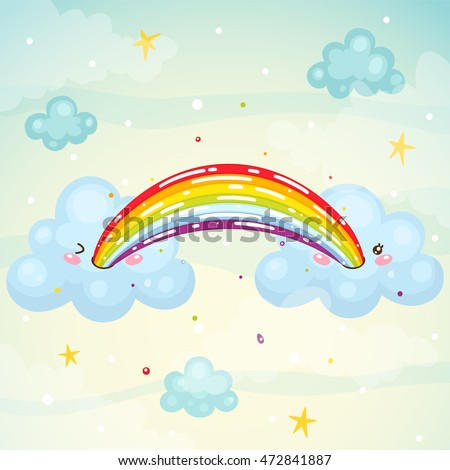 Where does the rainbow, cute cloud pukes children's illustration, kawaii humor, vector.
