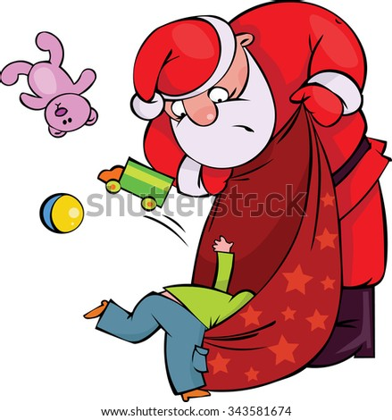 Where is my present?! Kid looking a gift in Santa's sack - stock vector