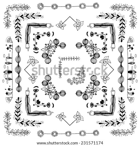 Whimsical and Bizarre Book Corners and Dividers. Vector Design elements. - stock vector