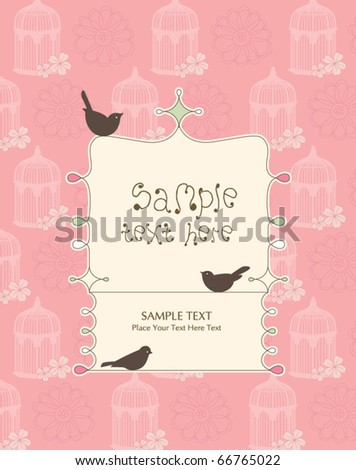 whimsical card design with birds - stock vector