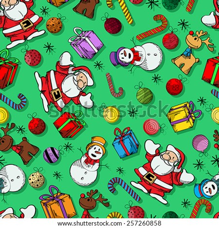 Whimsical Christmas holidays seamless pattern design - stock vector