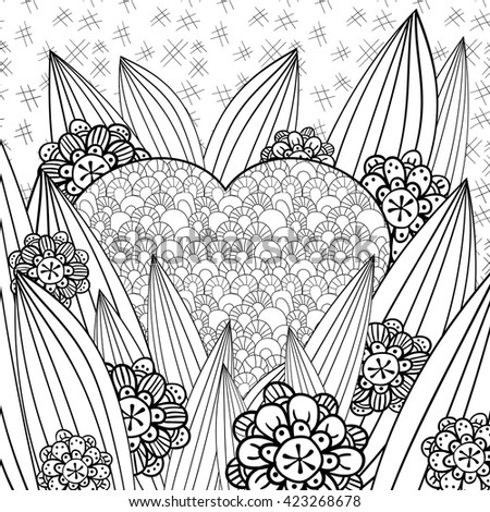 Whimsical Garden Adult Coloring Page Heart In The Grass Hand Drawn Vector Illustration