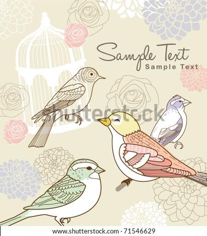 whimsical garden theme design - stock vector