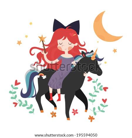 Whimsical girl on black unicorn - stock vector