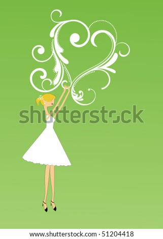 Whimsical girl with heart - stock vector