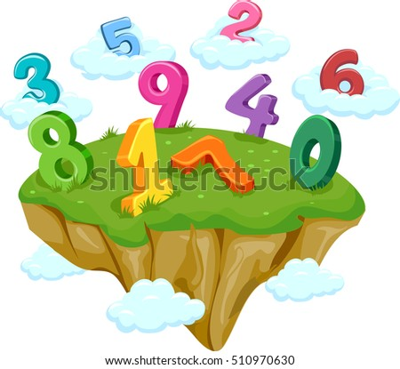 Whimsical Illustration Featuring a Floating Island Decorated with Colorful Numbers