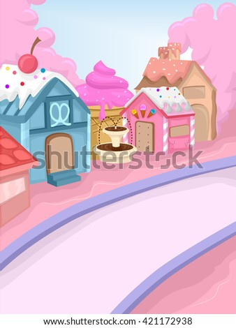 Whimsical Illustration Featuring a Town Decorated with Candies - stock vector