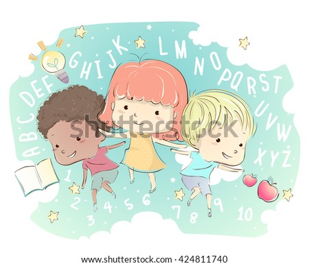 Whimsical Illustration of Kids Surrounded by Letters and Numbers - stock vector
