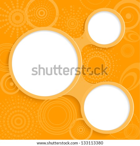 Whimsical orange background with round elements for information - stock vector