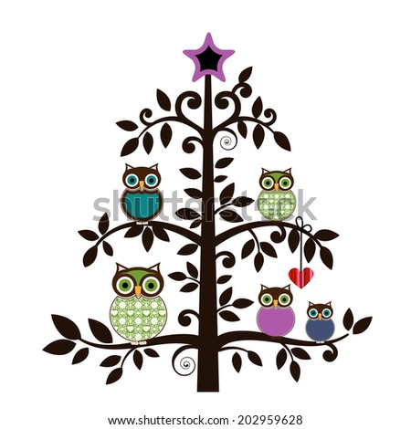 Whimsical owl family in a tree  - stock vector