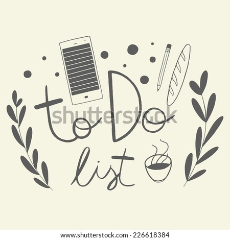 Whimsical vector illustration with 'to do list' hand lettering and cute doodle elements - stock vector