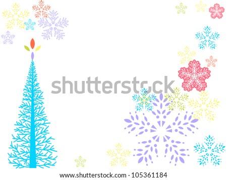 Whimsical winter snowflake frame - stock vector