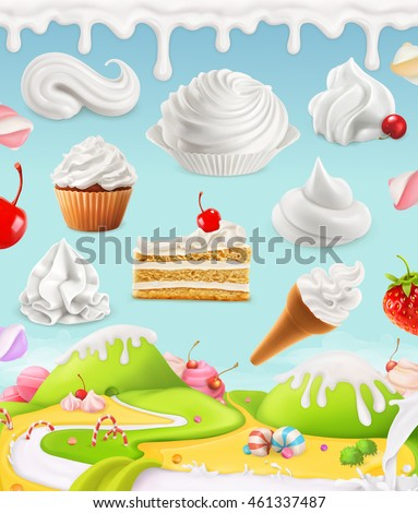 Whipped cream, milk twirl, ice cream, cake, cupcake, candy, 3d mesh illustration - stock vector