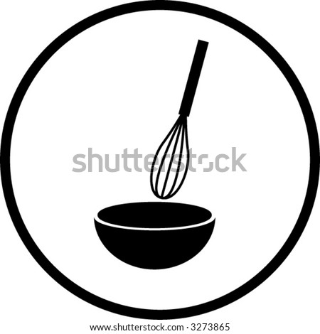 whisk and bowl or mixing symbol - stock vector