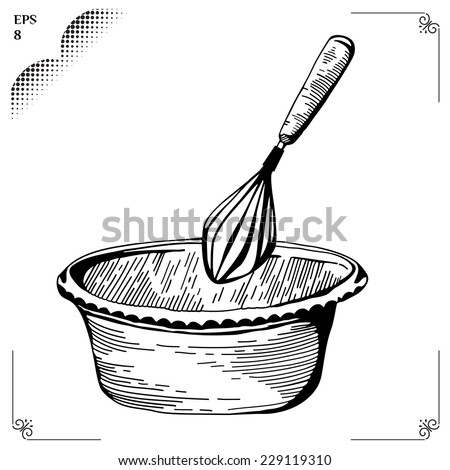Whisk. Culinary whipped methods. Cr���¨me Chantilly. Equipment for cookery. Cooking implements. Cooking steps. Methods of Cooking. Process of cookery. Eps 8 - stock vector