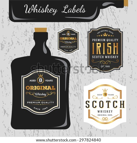Whiskey Brands Label Design Template, Resize able and free font used. - stock vector