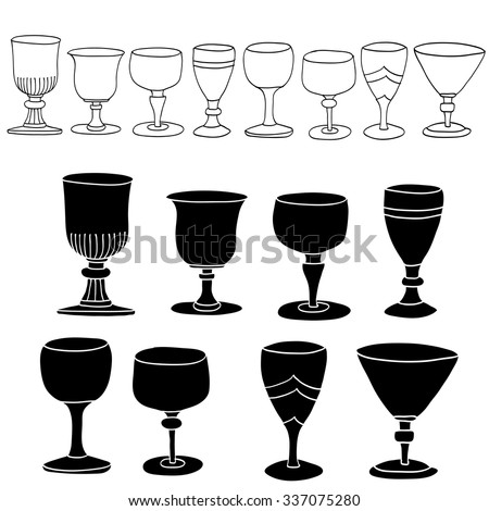 Whiskey Glass hand drawing set - stock vector