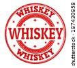 Whiskey grunge rubber stamp on white, vector illustration - stock vector