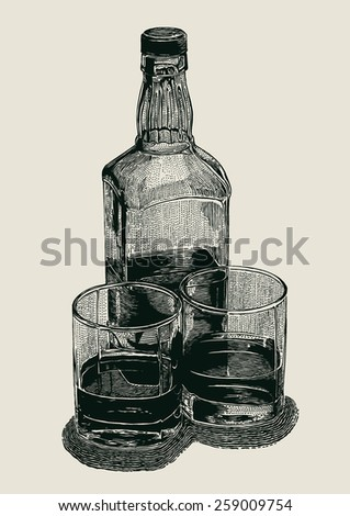 Whiskey in two glasses and bottle. engraved retro style. vector illustration
