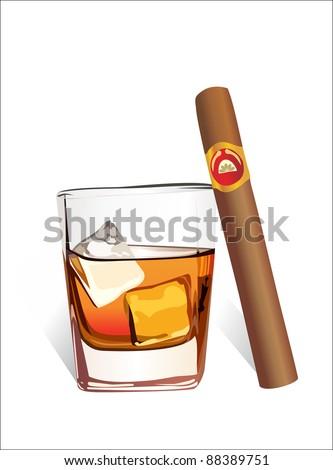 Whiskey with ice cubes and cigar, isolated on white background. Vector - stock vector