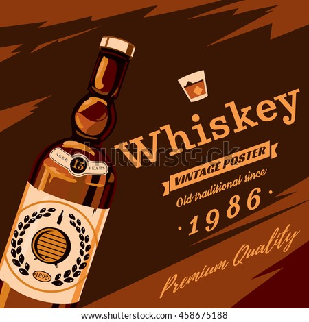 Whisky or whiskey glassware bottle with grains on sticker and premium quality text retro or vintage, old style poster. Alcohol beverage or booze for bar and restaurant theme - stock vector