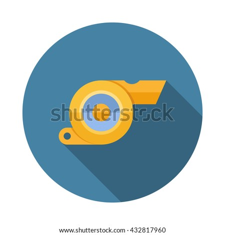 Whistle flat icon with long shadow