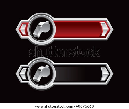 whistle on ribbon banner - stock vector