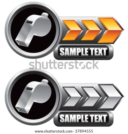 whistles on shiny arrow banners - stock vector