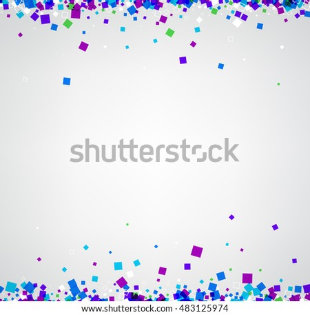 White abstract background with blue and purple squares. Vector paper illustration.