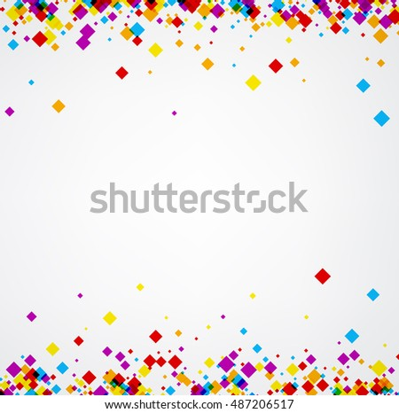 White abstract background with color rhombs. Vector paper illustration.