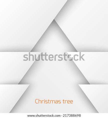White abstract christmas tree paper applique. Vector illustration - stock vector