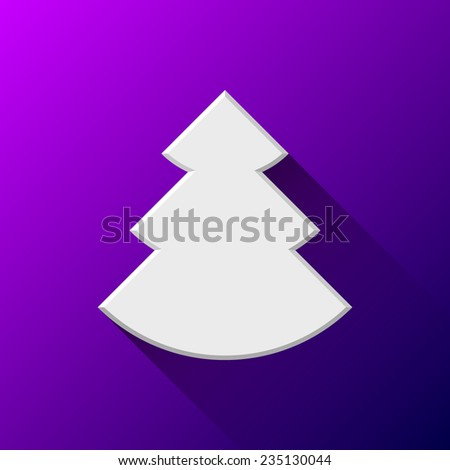 White abstract Christmas tree sign, blank button template with flat designed shadow and purple background for internet sites, web user interfaces, ui and applications, apps. Vector illustration. - stock vector
