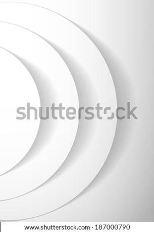 White abstract circles with drop shadow background. Vector illustration - stock vector