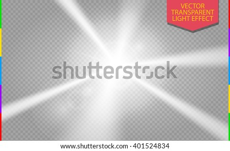 White abstract disco ray transparent light effect. Laser show spotlight element for design. - stock vector