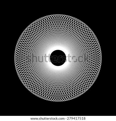 White abstract fractal shape with black background for logo, design concepts, web, prints, posters. Vector illustration. - stock vector