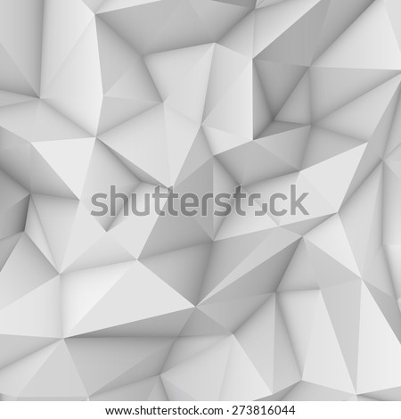 White abstract low-poly, polygonal triangular mosaic background for web, presentations and prints. Vector illustration. Realistic 3D design template. - stock vector