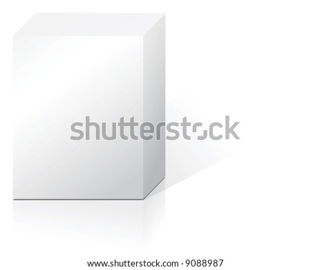 White abstract product box with reflection and shadow - stock vector