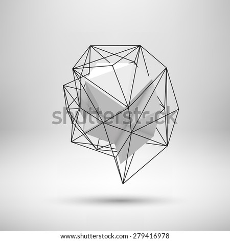 White abstract shape with low-poly, polygonal triangular mosaic texture and realistic shadow for web, presentations and prints. Vector illustration. Realistic 3D render design. - stock vector