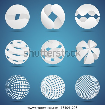 White abstract spheres - stock vector