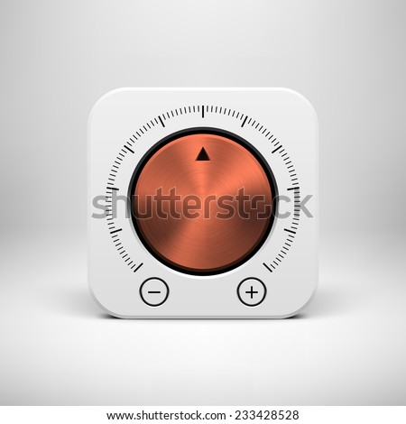 White abstract technology app icon, button template with music volume knob, bronze metal texture (steel, chrome), realistic shadow and light background for user interfaces, UI, applications, apps. - stock vector