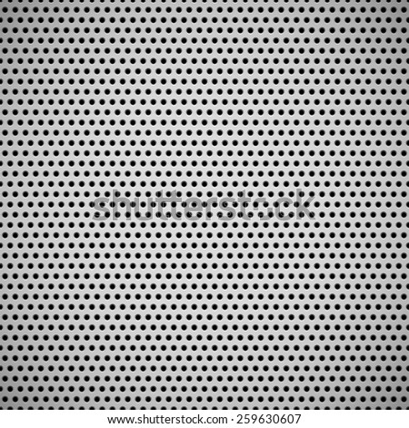 White abstract technology background with seamless circle perforated speaker grill texture for web, user interfaces, UI, applications, apps, business presentations and prints. Vector illustration.