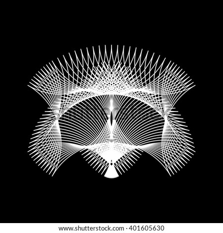 White abstract technology fractal shape with black background for logo, design concepts, posters, banners, web, presentations, wallpapers and prints. Vector illustration. - stock vector