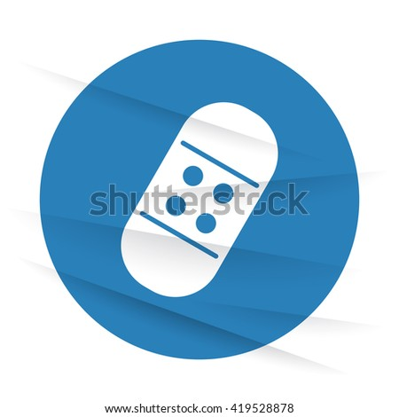 White Adhesive Bandage icon label on wrinkled paper - stock vector
