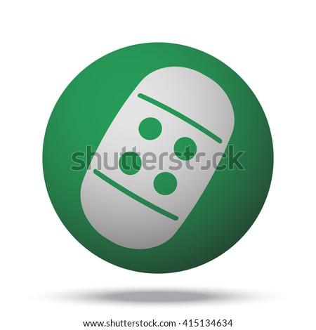 White Adhesive Bandage icon on green ball - stock vector