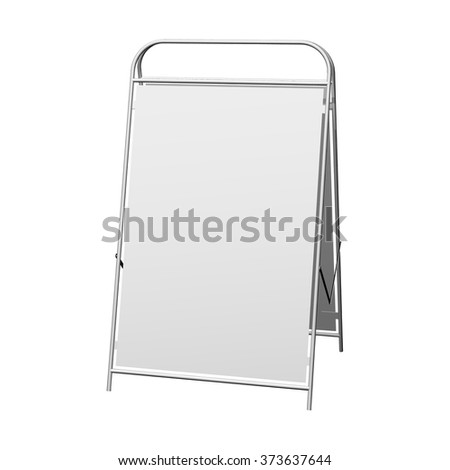 White advertising vertical stand on white background. - stock vector