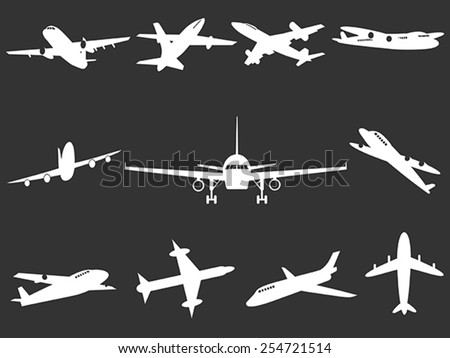 White Airplane silhouettes - stock vector