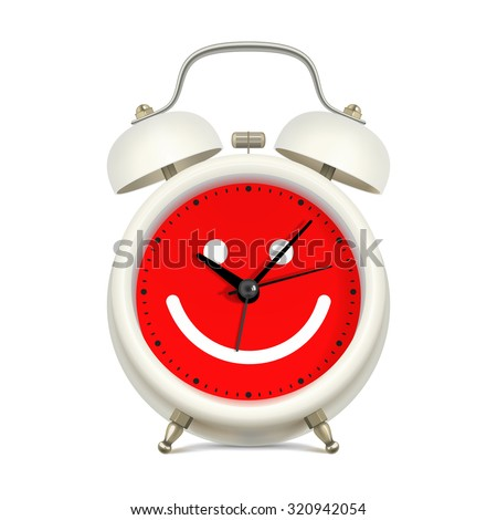 White alarm clock with red clock face, with picture of smiling face on white background. Always in a good mood concept - stock vector
